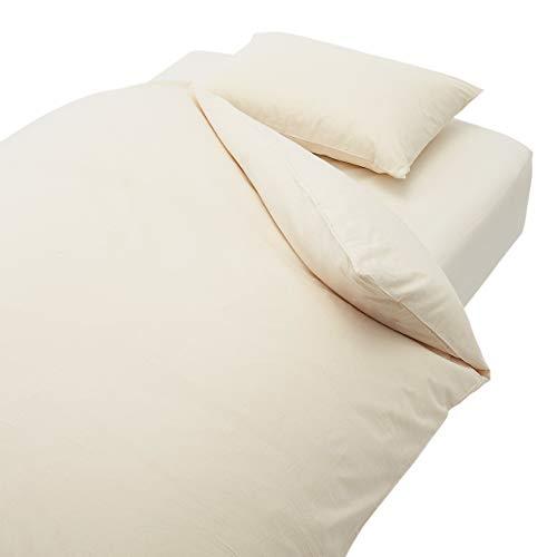 無印良品 綿平織ふとんカバーセット/生成 ベッド用 シングルサイズセット 82123623