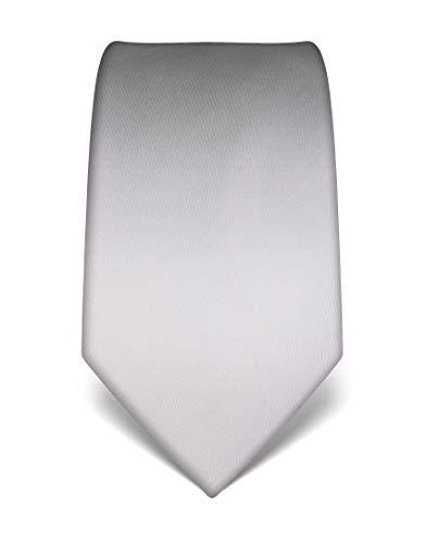 Vincenzo Boretti Herren Krawatte reine Seide uni einfarbig edel Männer-Design zum Hemd mit Anzug für Business Hochzeit 8 cm schmal/breit silber
