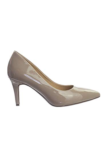City Classified Comfort Coen-h Medium High Heel Pointy Toe PumpSuper Cushioned Memory Foam Inner Sole Beige Patent 8.5