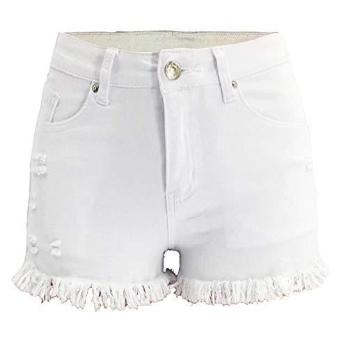 Pantalones Cortos de Mezclilla para Mujer Tendencia a la Moda Ropa de Calle Relajada Rasgada Pantalones Cortos de Talla Grande con Dobladillo Crudo Lavado Verano L