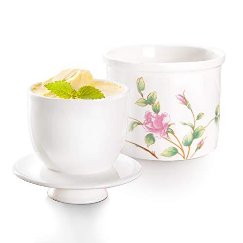 SIDUCAL Rose Butterdose mit Deckel, Keramik-Butterbehälter, Tisch-Butterhalter, keine harte Butter mehr, Bauernhaus-Butterkorck mit Wasser, weich und streichbar.