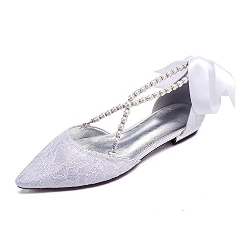 Zapatos Bailarina Plana para Mujer Verano Puntiaguda Perla Correas Cruzadas Bowknot Cinta...