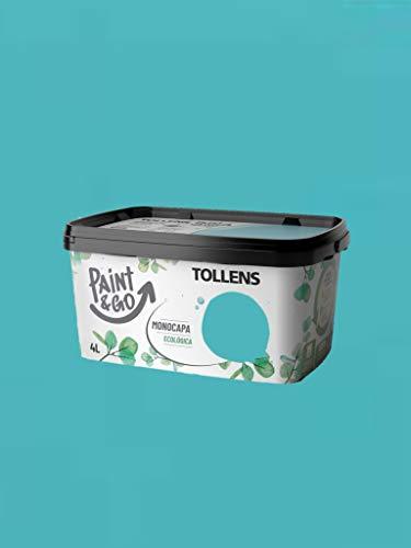 TOLLENS Pintura Plástica Ecológica Paint&Go (Azul Turquesa), 4 Litros