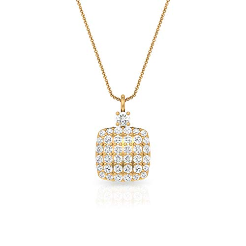 HI-SI Color Clarity Diamond Square Anhänger, Frauen IGI zertifiziert Diamant Cluster Halskette, zierlicher Jahrestag Kette Anhänger, Geburtstag Geschenk Idee für Sie,10K Gelbes Gold Mit Kette