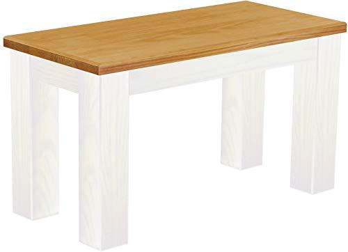 Brasil Furniture zitbank Rio Classico Brasil massief houten eetkamerbank keukenbank houten bank echt hout bank landhuis Bank 80 202 honing wit