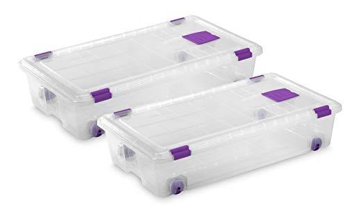 TODO HOGAR - Caja Plástico Almacenaje Transparente con Ruedas - Medidas 730 x 405 x 165 mm - Capacidad de 35 litros (2)