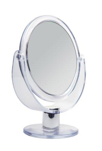 Doppelseitiger Acryl Kosmetex Kosmetik-Spiegel, rund, Stand-Spiegel mit 2-fach Vergrößerung, 17cm hoch, Klein