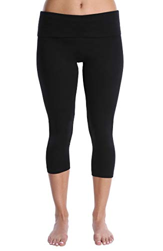 Blis Women Yoga Workout Legging Capri Pant with Foldover Fold Over Color Waistband Standard Plus and Maternity Black X-Large