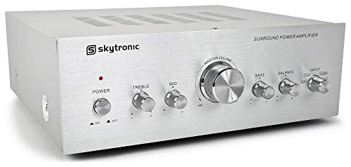 Skytronic Stereo Versterker 400 Watt met 4 Inputs, Ingangen voor Telefoon, DVD Speler, CD Speler, MP3 Speler, 3-Bands Toonregeling, 2x 200W