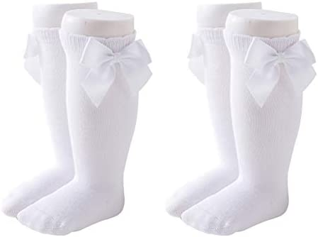 Maorrew 2 Pack Baby Girls Knee High Socks Bow Long Stockings Infants Toddlers Cotton Ruffled product image