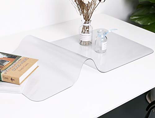 Oterri Clear Writing Desk Pad, Heat Resistant Waterproof Frosted PVC Round Edge Durable Desk Protector,Anti-Slip Writing Mat-24''x12' Desk Blotter