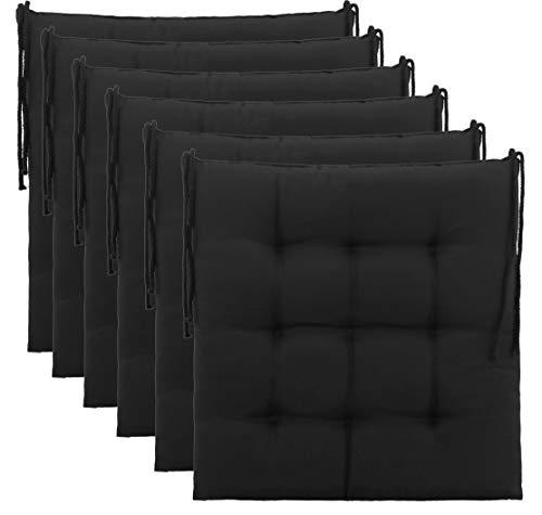 Brandsseller Sitzkissen Dekokissen Stuhlkissen Zierkissen Gartenkissen - 9er Steppung- in Verschiedene Motive (6er-Paket, Schwarz)