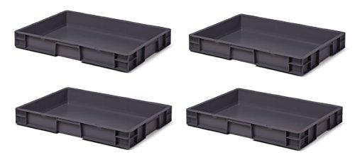 4 Stk. Transport-Stapelkasten TK675-0, grau, 600x400x75 mm (LxBxH), aus PP, Volumen: 14.5 Liter, Traglast: 30 kg, lebensmittelecht, Industriequalität