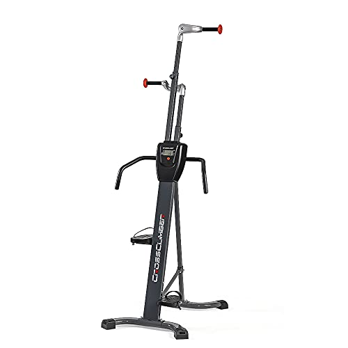 CrossClimber: The ONLY Vertical Climber That Allows Both Natural Climbing Motions. Rugged, Sturdy, Folding Design for Home Gym - Cardio/HIIT with Strength Training [Limited-TIME Offer]