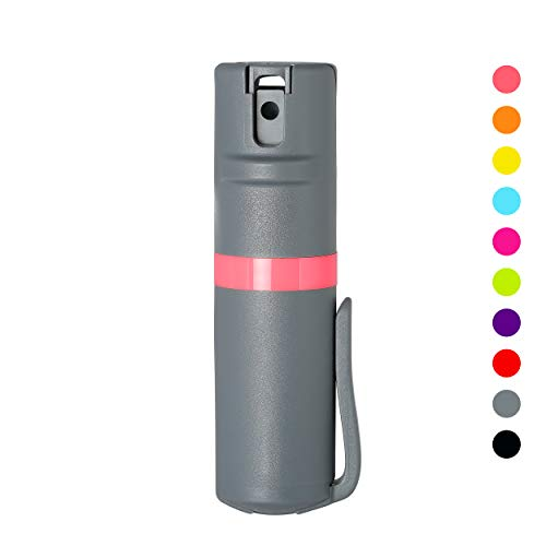POM Grey Flip Top Pepper Spray Pocket Clip - Maximum Strength OC Spray for Self Defense - Tactical Compact & Safe Design - 25 Bursts & 10 ft Range - Powerful & Accurate Stream Pattern (Coral)