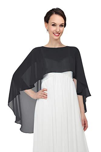 Pukguro Chiffon Wrap Shawls Capes for Evening Dresses Wedding Bridal Bolero Shawl Wraps for Women Black