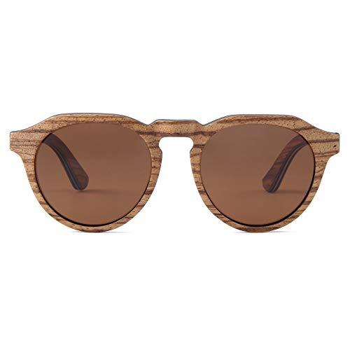 WOLA FLORA Gafas de sol de madera para mujer, redondas, planas, polarizadas, UV400 UVA UVB madera de zebrano M