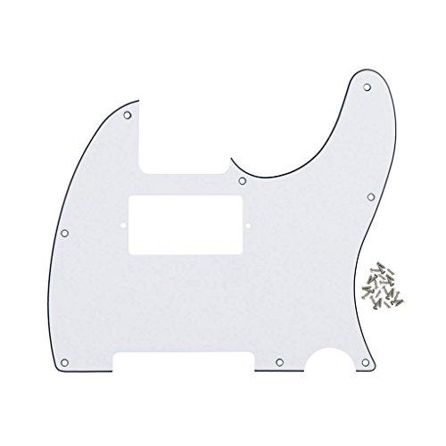 FLEOR Golpeador Tele Humbucking de 8 agujeros para guitarra Fender estándar Telecaster de estilo moderno estadounidense/mexicano, tornillos de montaje incluidos, 3 capas blanco/negro/blanco