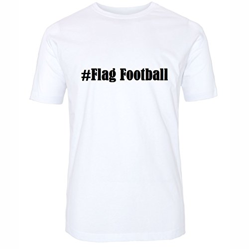 T-Shirt #Flag Football Größe M Farbe Weiss Druck schwarz