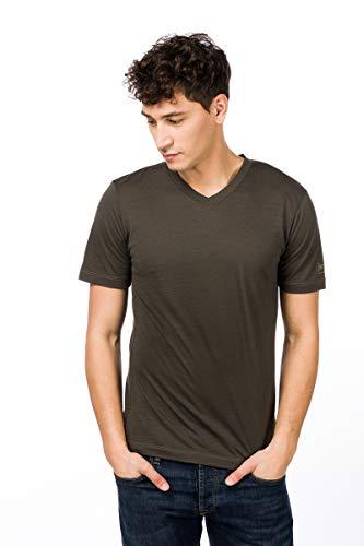super.natural Base V-Neck Camiseta, Hombre, Killer Khaki/Bamboo, XX-Large