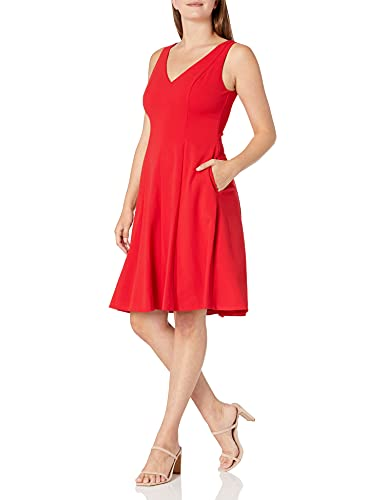 Donna Morgan Women's Stretch Crepe Sleeveless V-Neck Fit and Flare Dress, Red, 6