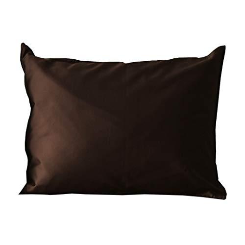 枕カバー (50x70cm枕用 ショコラブラウン) 大判 日本製 綿100% サテン シルクのような滑らかさ ピローケース 防ダニ 高級ホテル仕様 大きめ 筒形 高密度生地 北欧 Noble(ノーブル)