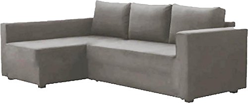 HomeTown Market The Cotton Manstad Cover Replacement is Custom Made Compatible for IKEA Manstad Sofa Bed with Chaise Sectional Cover, Or Corner Slipcover (Right ARM Longer, Light Gray)
