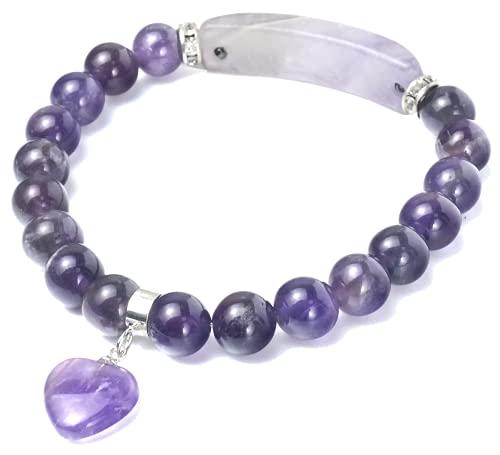 Pulsera de amatista natural, colgante de amor, joyas de perlas de amatista de cristal hecho a mano,...