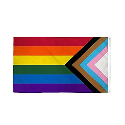 MEIYOUMK Regenbogenfahne Pride Flag 150 x 90 cm Regenbogen Gay Pride Fahne Strapazierfähig UV-beständig Progress Pride Flag für LGBT-Flaggen Große Fahne für den Innen- und Außenbereich Paradefahnen