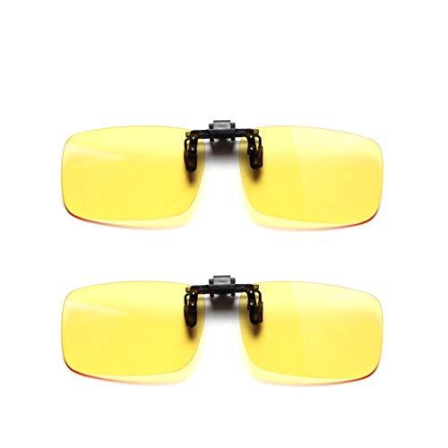Cyxus (2 Paquetes Filtro de luz Azul Gafas Clip on Computadora Gafas Bloqueo UV Anti Fatiga de Ojos, Unisexo(Hombres/Mujeres Dos Lentes Amarillas