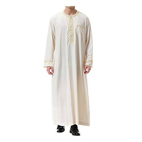Xinvivion Musulman Hommes Robes - Manches Longues Islamique Moyen Orient Dubai Thobe Arabie Saoudite Ethnique Dishdasha Kaftan Kandoura