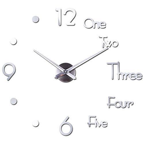 Orologio da Parete Silenzioso Preciso Fai da Te, Orologio Parete Moderno Decorazione, Grande Orologio da Parete 3D Adesivo Home Office Decor Regalo