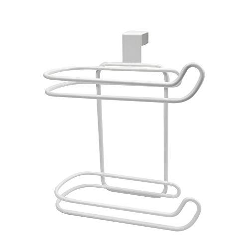 Portarrollos de Papel de Metal Dispensador de Papel Higiénico Forma de U Portarrollos Baño Sin Taladro Almacenamiento en Cuarto de Baño sobre el Tanquedel Inodoro Toallero de Cocina Higiénico Blanco