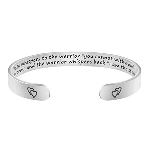 Joycuff Inspirational Bracelets for Women Mom Personalized Gift for Her Engraved Mantra Cuff Bangle Crown Birthday Jewelry (Fate Whispers to The Warrior You Cannot Withstand The Storm.)