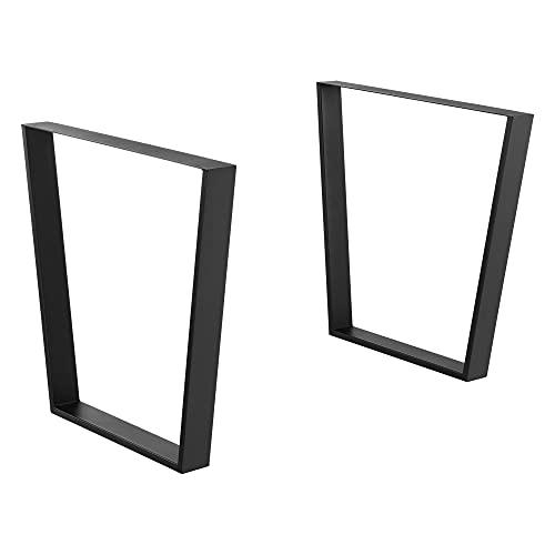 2 x Conjunto de Patas de Mesa 55-75 x 72 cm Set de 2X Patas de Mesa Acero Patas de los Muebles Soporte para Mesa de Comedor Armazón de Mesa con protección para Suelo Negro Mate