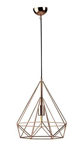 Lámpara techo jaula metálica acabado cobre