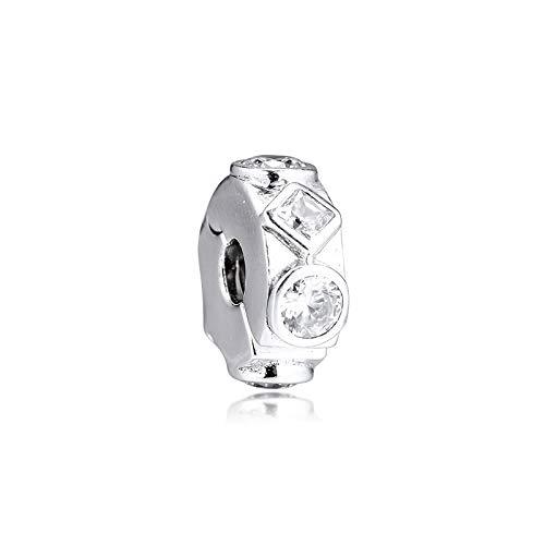 Joyería De Plata De Ley 925 para Mujer Formas Geométricas Abalorios con Clip Se Ajustan A Pulseras Pandora Europeas Collares Fabricación De Joyas DIY