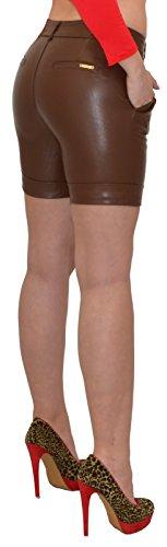 ESRA Damen Shorts Damen Kurze Hose Damen Ledershorts Lederimitat in 4 Farben H27