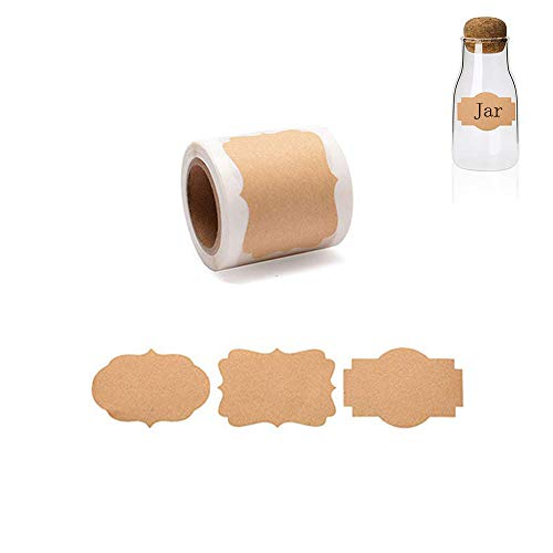 300pcs,Etiketten Sticker Kraftpapier Einmachetiketten Selbstklebeetik Geschenkaufkleber Selbstklebend für Küche,Haushalt,Geschenkverpackung,Gewürzdosen, Glasflaschen Scrapbooking,Aufbewahrungsdosen