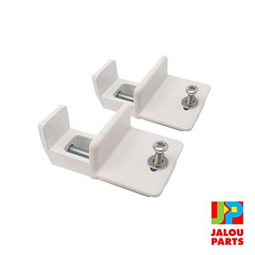 JalouParts Universal Klemmträger für Plissee Klemmfix für Montage am Fensterflügel ohne Bohren. Stabilem Metallguss, Weiß lackiert und extrem robust - 2 Stück