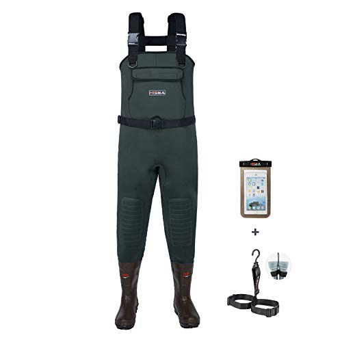 HISEA Neoprene Fishing Chest Waders for Men with Boots Cleated Bootfoot Waterproof Mens Womens Waders Fishing & Hunting Waders-Green and Brown