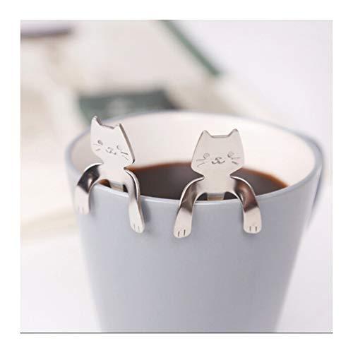 4 Pcs Katze Kaffee Löffel Set, Edelstahl Kätzchen Hängendes Design Teelöffel Dessertlöffel für Wasser Tee Milch Kaffee Dessert Drink Mischen Milchshake,zum Aufhängen Tasse Löffel Küche Gadget