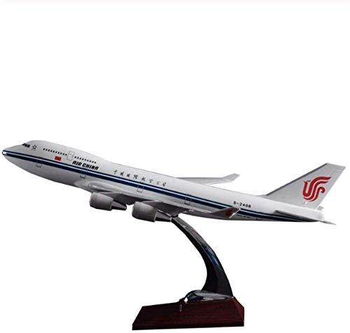 XHH Maqueta de avión Escultura 47 cm B747-400 Maqueta de avión Air China Boeing 747-400 avión Modelo de aerolínea aviación Resina Modelo de avión Airbus (Adornos Decorativos Modelo de avión)