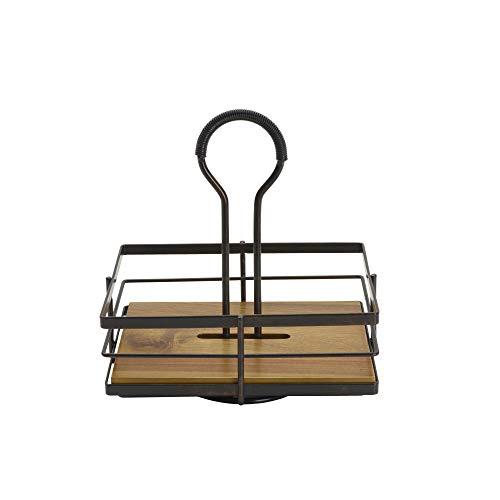 Gourmet Basics by Mikasa Nova Acacia Wood Rotating Condiment Caddy, 8.75 Inch, Black