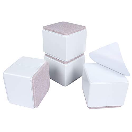 Ezprotekt Elevadores de Muebles de 5 cm, Elevadores de Cama de Acero al Carbono, Diámetro de 6 cm, Autoadhesivos, Resistentes, Añade 5 cm de Altura a las Camas y Sofás,Cuadrado Blanco