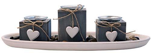 khevga Windlicht-Tablett aus Holz Grau Schwarz Weiß mit Herzen (Grau)