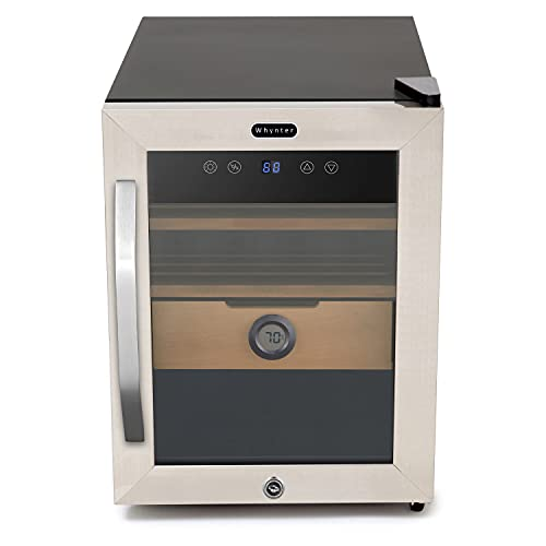 Whynter CHC-123DS Cigar Humidor, 1.2 cu ft, Stainless Steel
