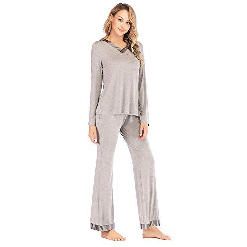 Pyjama Damen Nachthemd Schlafanzug Herbst Winter Frauen Baumwolle Modal Patchwork Langarm Nachtwäsche Damen Soft Loungewear Pyjama Sets L Grau