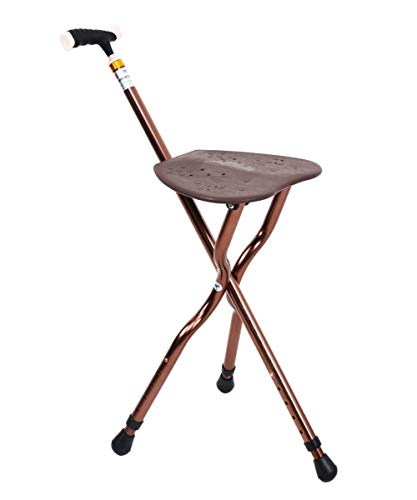 Best Cane Stool Walking Seats Retractable Lightweight Walking Stick with LED Light for Elderly Outdoor Travel Rest Stool Folding Chair Large Weight Capacity (Brown Cane seat)