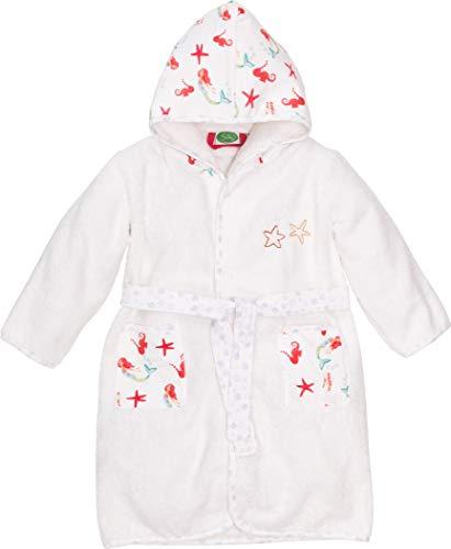 Smithy® Kinder-Bademantel aus 100% Bio-Baumwolle – Schadstofffrei und GOTS zertifizierter Baby Morgenmantel – mit Meerjungfrauen und Seesternen